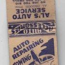 Vintage Auto Repair Repairing Service Shop Sturtevant Racine Wisconsin Matchbook