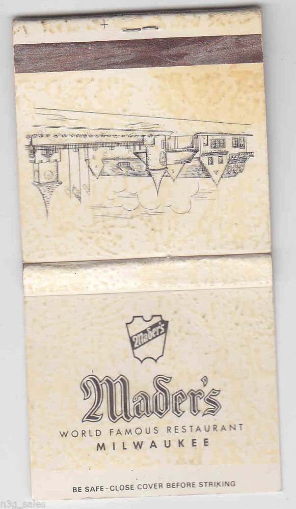 Vintage Retro Mader's World Famous Restaurant Milwaukee Wisconsin Matchbook