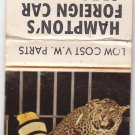 Vintage Hampton's Foreign Car Specialists Fort Smith Monkey Cheetah Matchbook