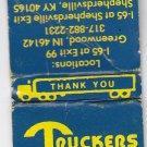 Vintage Truckers World Truck Stop NATSO Indiana Kentucky Illinois Matchbook