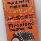 Retro Firestone Champion Tire Blue & White Station Mineral Point Matchbook