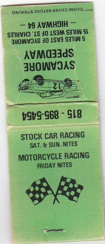 Vintage Sycamore Speedway Stock Car Motorcycle Racing Green Flag Car Matchbook
