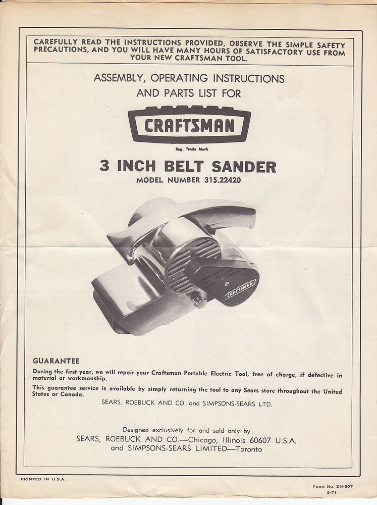 sears craftsman 3 3 inch belt sander owners manual model 315 22420 rh get wired ecrater com Craftsman 3 Inch Belt Sander Craftsman Belt Sander Owner's Manual