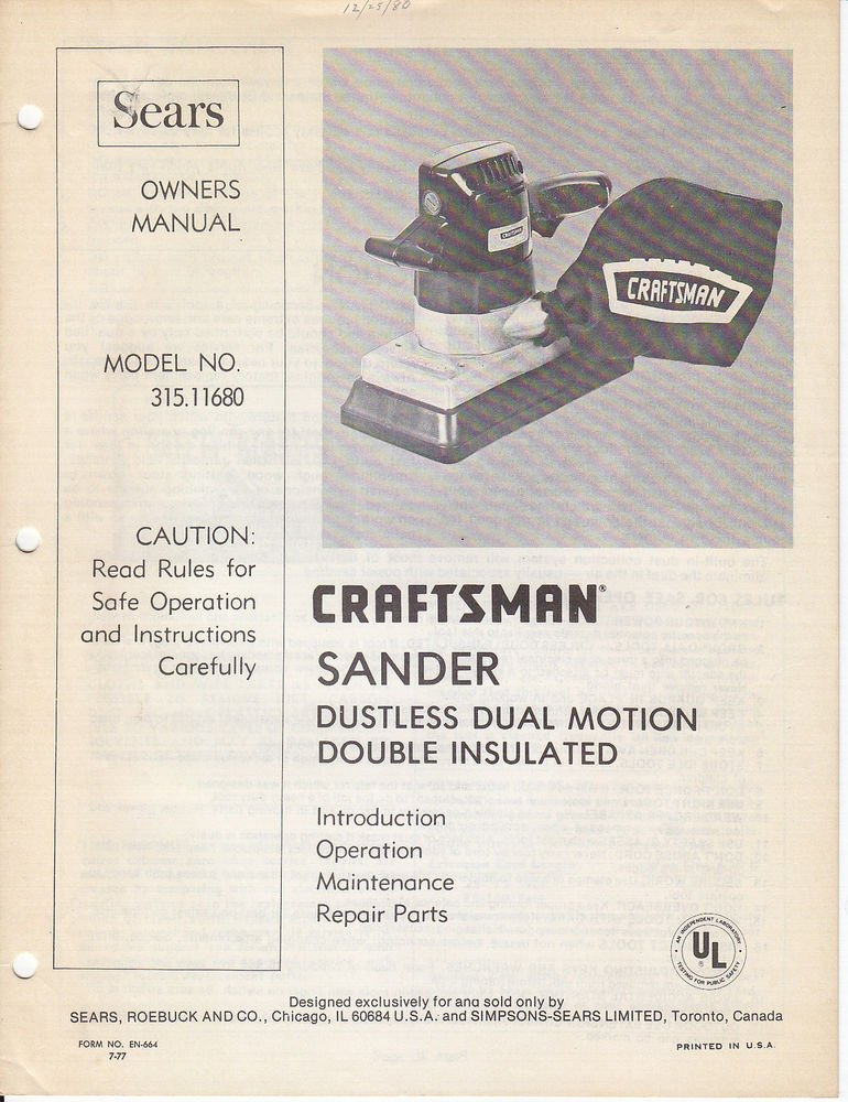 1980 80 80's Sears Craftsman Sander Dual Motion Owners ...