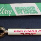 Vintage Brewer Chevrolet Co. Homer Illinois Dealer Bottle Can 2-way Opener w Box