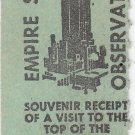 Vtg Empire State Building World's Fair Admission Ticket Stub 1964 1965 60's