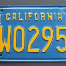Vintage 1970 70's California License Plate Single (1) Blue & Yellow # 1W02953