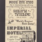 Vtg Imperial Hotel Cripple Creek Colorado Scenic Graphic Matchbook Cover VG+