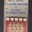 Vtg Burlesk Back Stage Chicago Burlesque Feature Matchbook Matches Match Cover