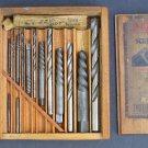 Vtg Ezy Cut Cleveland Twist Drill Co Extractors Straight Shank Drills w Wood Box