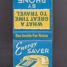 Vtg Ma Bell System Telephone Telco Co Energy Saver Long Distance Matchbook Match