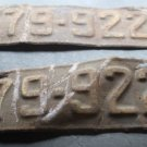 Vtg 1931 31 Wisconsin WI WIS License Plate Plates Set Pair # 79-922 C Rustic