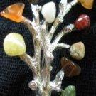 80's Vintage 10 Glass Gemstone Branch Brooch