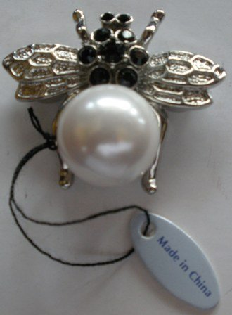 80's Magnetic Fly Brooch with Black Glass Accents