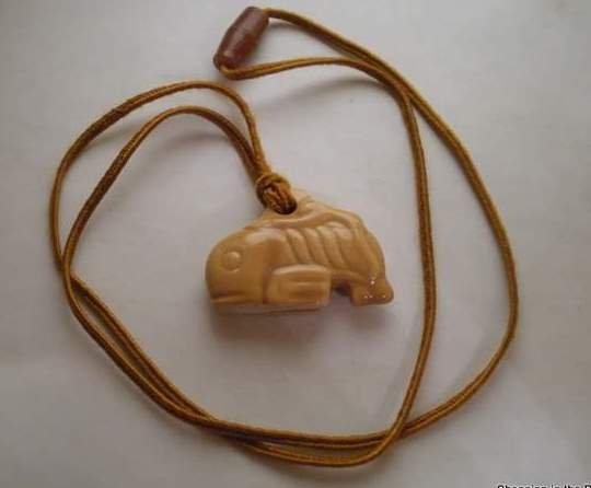 Late Vintage Slide On Ceramic Whale Necklace