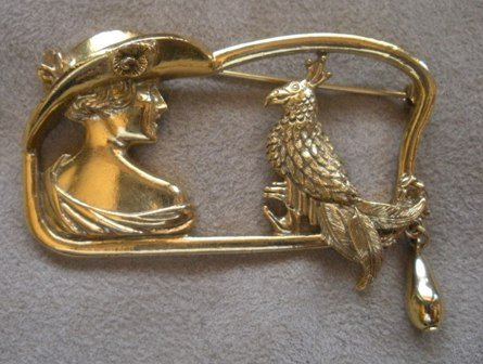80�s Vintage Lady in the Hat Bird Brooch, Elegant