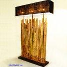Bamboo Floor Lamp with black silk shade #BHSL04