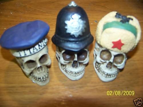 "3 SKULLS With  British hat - helmet - titanic  NEW  2"""