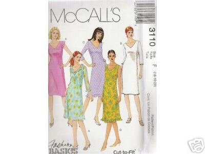 MISSES' MISS slightly A-lined DRESSES  McCALL'S PATTERN