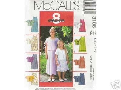 CHILDREN'S /GIRLS' 2-lengths DRESS McCALL PATTERN 10-14