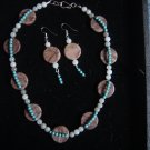 Marble, Turquoise and Quartz Choker and Earring Set