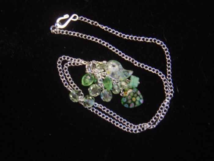 Dangling Millefiori Necklace and Earring Set