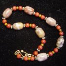 Marble and Sponge Coral Choker and Earring Set