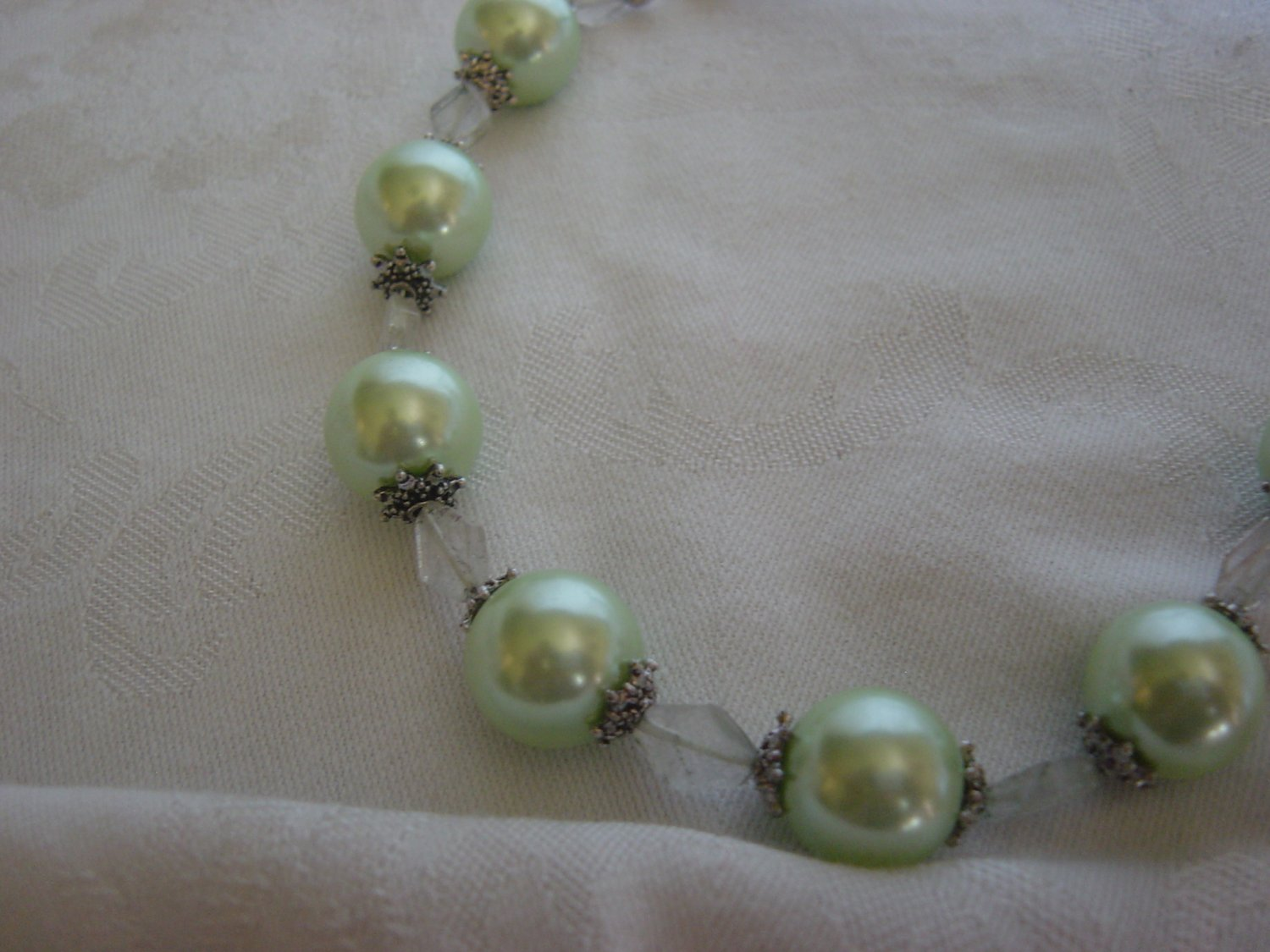 Green Pearls and Ribbons
