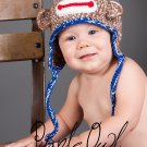 Boy Sock Monkey Hat - Any Color Combo - Any Size - Photo Prop