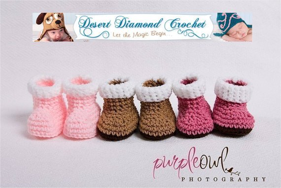 Crochet Pattern 003 - Baby Snow Booties - 3 Sizes