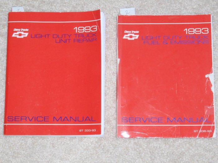 1993 Service Manual Chevrolet Light Duty Truck  C/K M/L S/T G