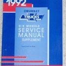 1992 Service Manual Chevrolet C/K Supplement Covering Natural Gas Models Truck