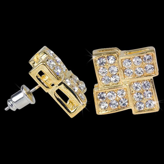 Iced Out 24K Gold Weave CZ Earrings