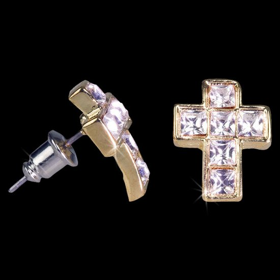 Iced Out 24K Gold Simple Cross CZ Earrings