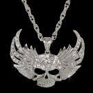Large Iced Out Skull With Wings CZ Pendant