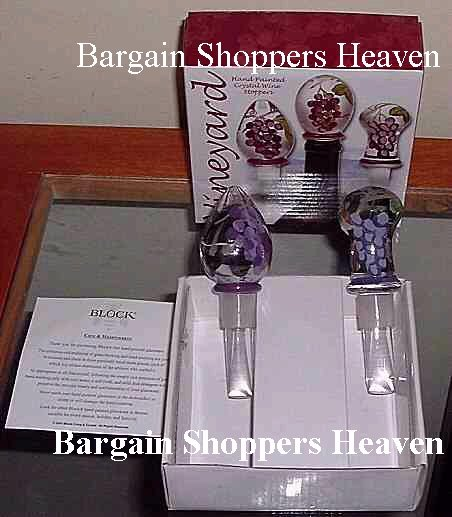 Set of 2 Authentic Block Solid Crystal Hand Painted Wine Stoppers  NEW
