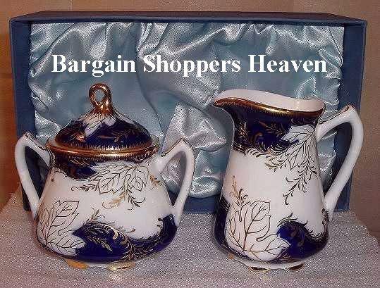 Gold n Royal Blue Porcelain China Sugar n Creamer Set  High End Quality