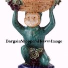 10 inch high Antique Style Porcelain Majolica Monkey with Treasure Basket NEW