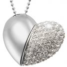 8GB USB Flash Drive Necklace - Jeweled Metal Heart [TKE-CVSC-K14-8GB]