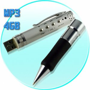 MP3 Music Player Pen with FM Tuner + Voice Recorder - 4GB  [TKE-CVSC-200-4GB]