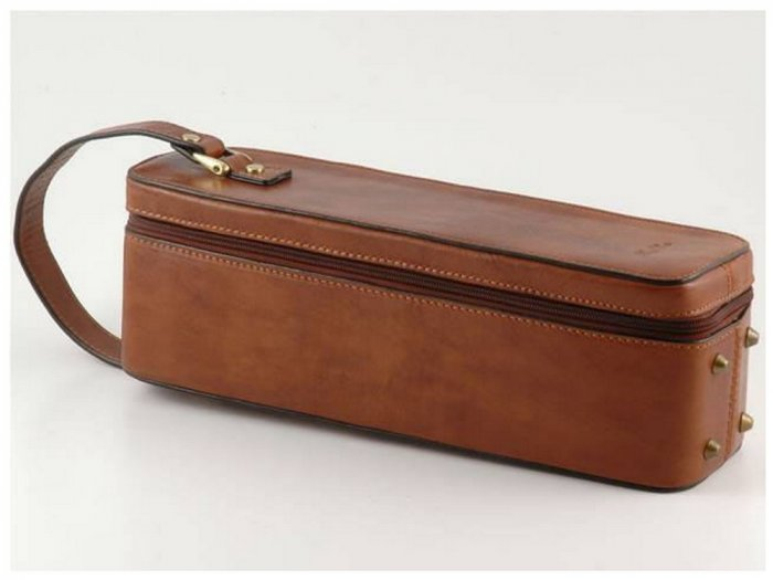 Italian HighQuality CalfskinLeather Wine Bottle Carrier