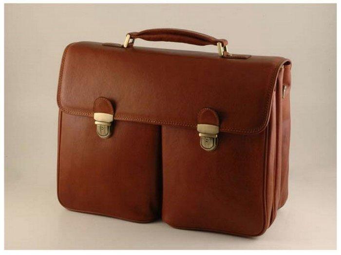 Italian High Quality Calfskin Leather Briefcase -Varese