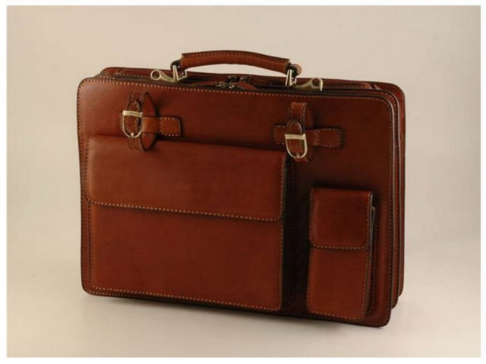 Italian High Quality Calfskin Leather Briefcase-Brescia