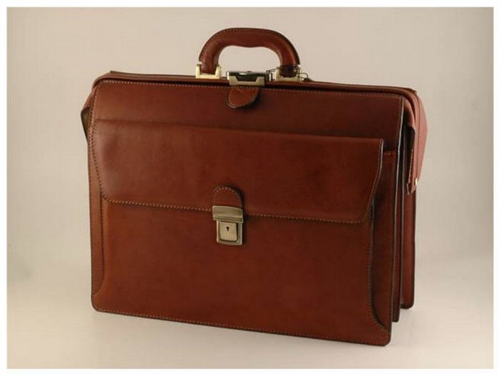 Italian High Quality Calfskin Leather Briefcase-Taranto