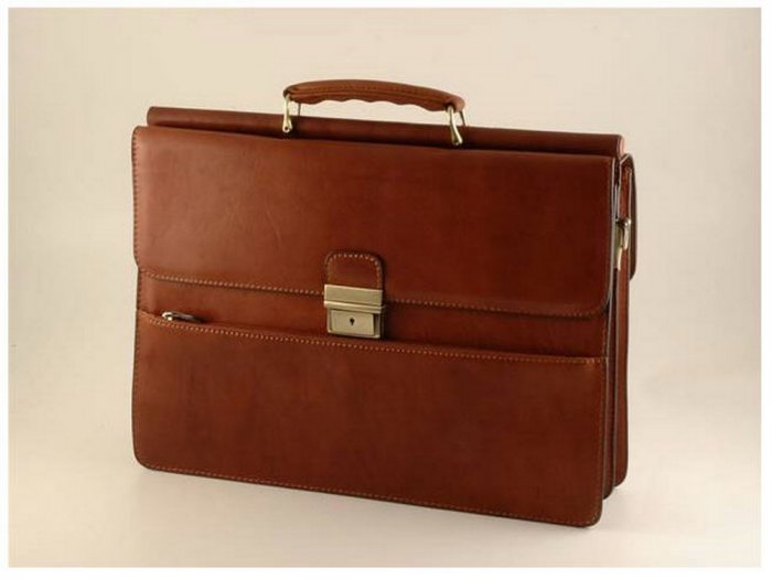 Italian HighQuality Calfskin Leather Briefcase-Siracusa