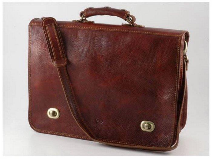 Italian High Quality Calfskin Leather Briefcase - Siena
