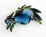 Unsigned huge blue glass brooch