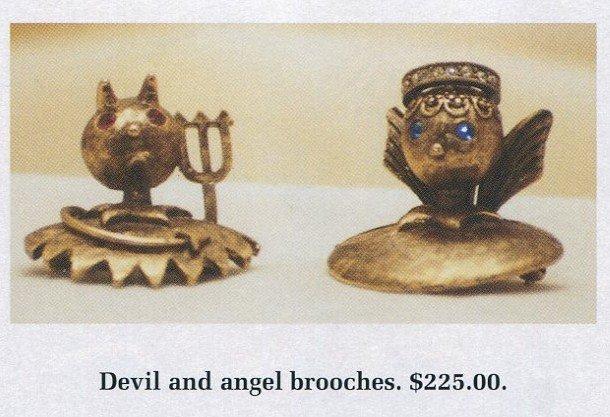Tortolani devil and angel shoulder pins