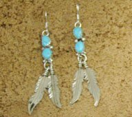Navajo Crafted Turquoise Drop Feather Earrings