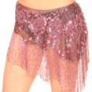 Hand Beaded Hip Wrap with Sequin and Flower Design and Hanging Beaded Fringe